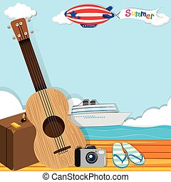Summer theme with cruise and travel objects