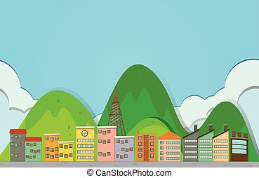 Buildings along the road illustration