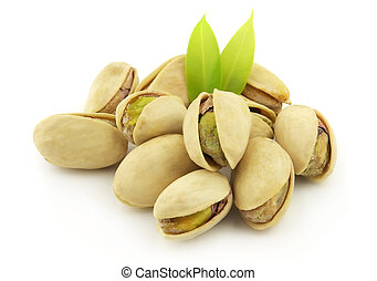 Pistachio with leaves on a white background
