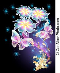 Neon butterflies and transparent daisy with golden ornament...
