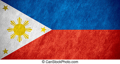 flag of Philippines or Philippi banner on canvas texture