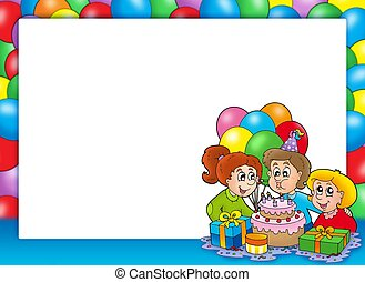 Frame with celebrating children - color illustration.