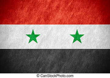flag of Syria or Syrian banner on canvas texture