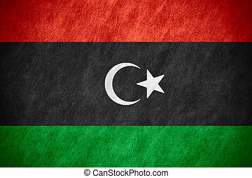 flag of Libya or Libyan banner on canvas texture