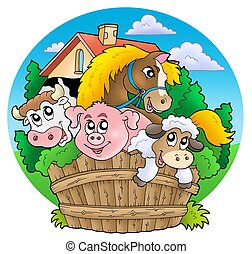 Group of country animals - color illustration.