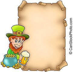 Parchment with leprechaun and gold - color illustration