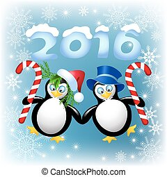 Two funny penguin with Christmas comfit - Two funny penguin...