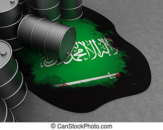 Saudi Arabia and oil - abstract 3d illustration of oil with...