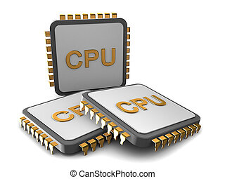 processors - 3d illustration of three cpu over white...