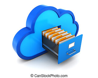 cloud storage - 3d illustration of cloud storage with...