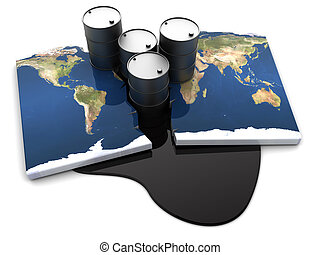 oil conflict - abstract 3d illustration of worldwide oil...