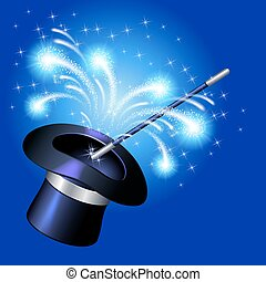 Conjurer hat with magic wand and sparkle fireworks