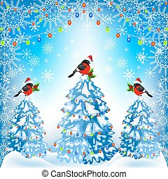 Christmas forest and bullfinches with lantern garland -...