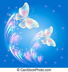 Butterflies and glowing salute - Transparent flying...