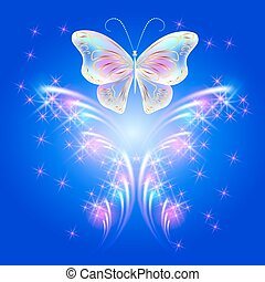 Butterfly and glowing salute - Transparent flying butterfly...