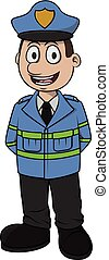 Traffic officer vector cartoon illustration