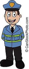 Traffic officer vector cartoon illustration