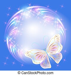 Butterfly and glowing salute - Transparent flying...