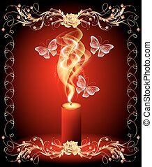 Burning candle with butterflies