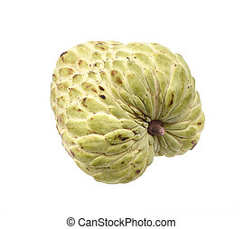 Sugar Apple custard apple, Annona, sweetsop on white...