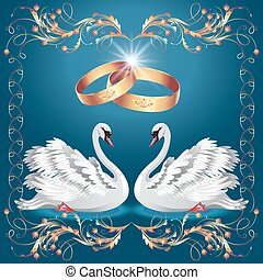 Card with wedding rings and two swans in ornament frame