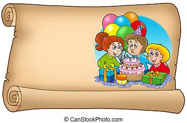 Scroll with celebrating kids - color illustration.