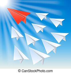 Paper planes follow their leader