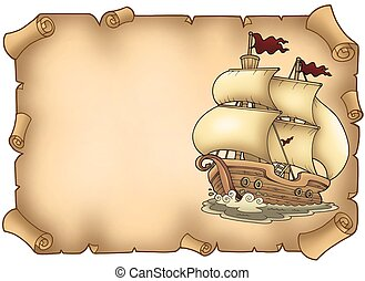 Parchment with old sailboat - color illustration.