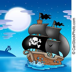 Pirate sailboat with Moon - color illustration.