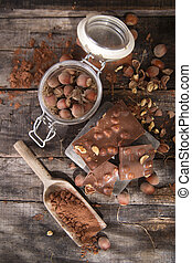 Chocolate with hazelnuts - Pieces of milk chocolate with...