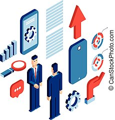 Businessman isometric technology