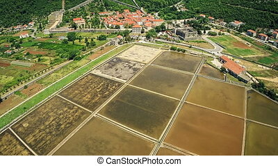 Ston saltern, aerial - Copter aerial view of the old...