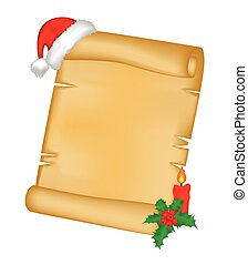 Christmas paper scroll card with santa cap,hat and holly berry. vector illustration isolated on white background.