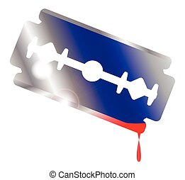 Blooded Razor Blade - A razor blade over white with blood...