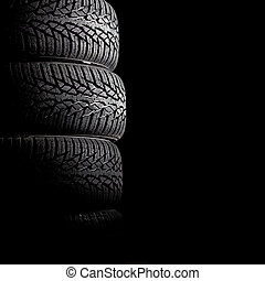 winter tyre - detail of used winter tyre