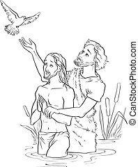 Baptism of Jesus Christ Outlined.eps - Coloring page. Also...