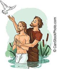 Baptism of Jesus Christ - Colored illustration. Also...