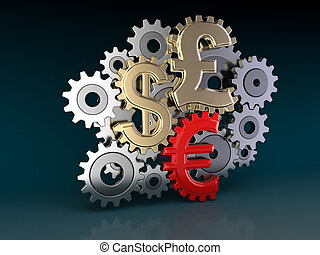 Cogwheel Currencies Image with clipping path