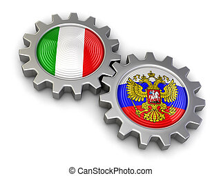 Russian and Italian flags on gears - Russian and Italian...