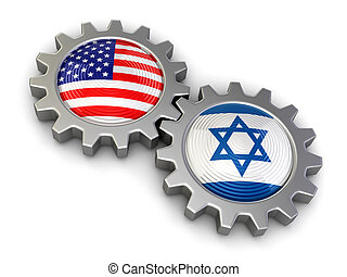 USA and Israeli flags on a gears Image with clipping path