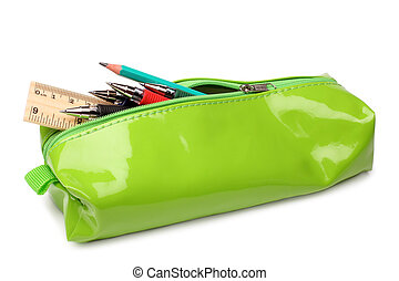 Pencil case with school supplies