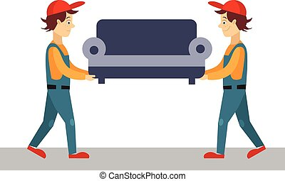 Delivery Man with Sofa, Vector Illustration - Delivery Man...