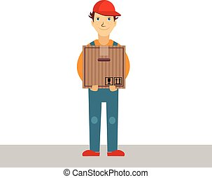 Delivery Man Holding Package, Vector Illustration