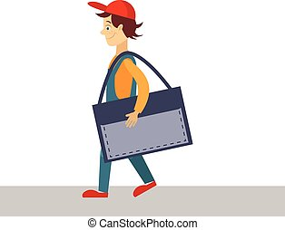 Delivery Man with a Folder, Vector Illustration