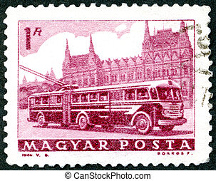 HUNGARY - 1963: shows Bus and Parliament - HUNGARY - CIRCA...