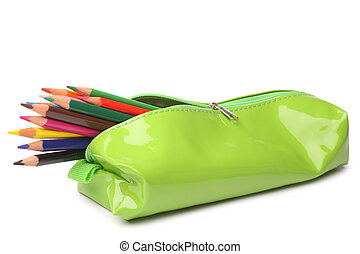 Pencil case with colored pencils on white background