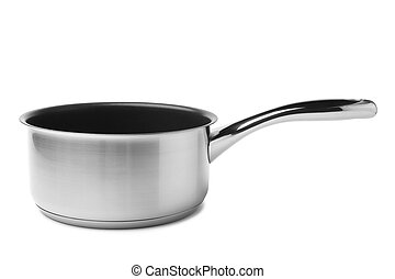 Stewing pan on white background