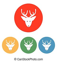Santa Deer icon on the white background. Vector...