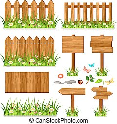 Wooden fence set with grass and flowers - Wooden vector...