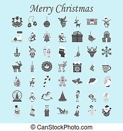 Christmas Set on the white background. Vector illustration